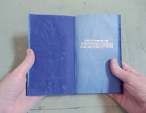 Brian Hitselberger Books Hand dyed mulberry paper with collaged text.