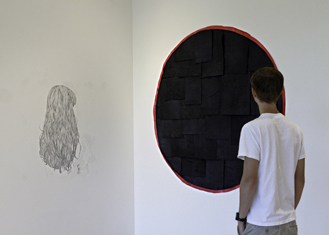 Brian Hitselberger Wall Drawings 2012-ongoing Graphite, dyed and painted mulberry paper, pins on two walls