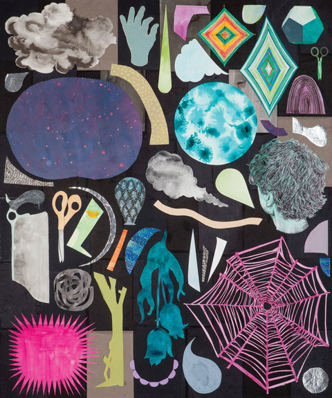 Brian Hitselberger Works on Paper 2016 Ink, watercolor, gouache, latex, acrylic, paper and mylar collage on canvas