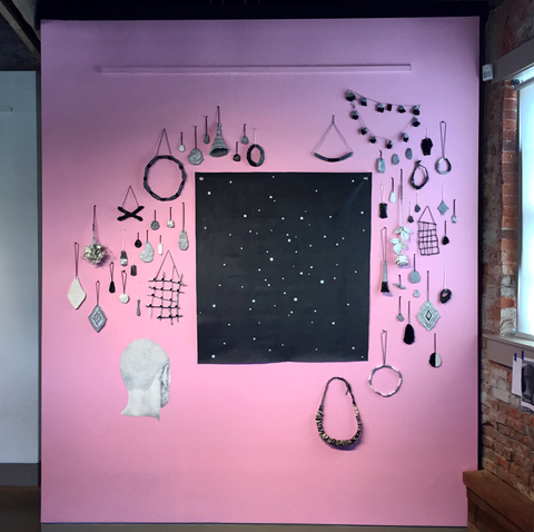 Brian Hitselberger Wall Drawings 2012-ongoing Ceramic, found object, acrylic on canvas, latex, graphite on wall.