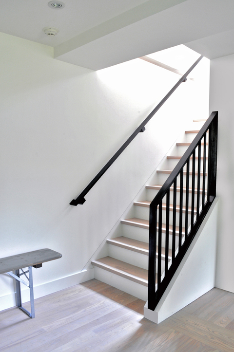 Blackened steel handrail and guardrail