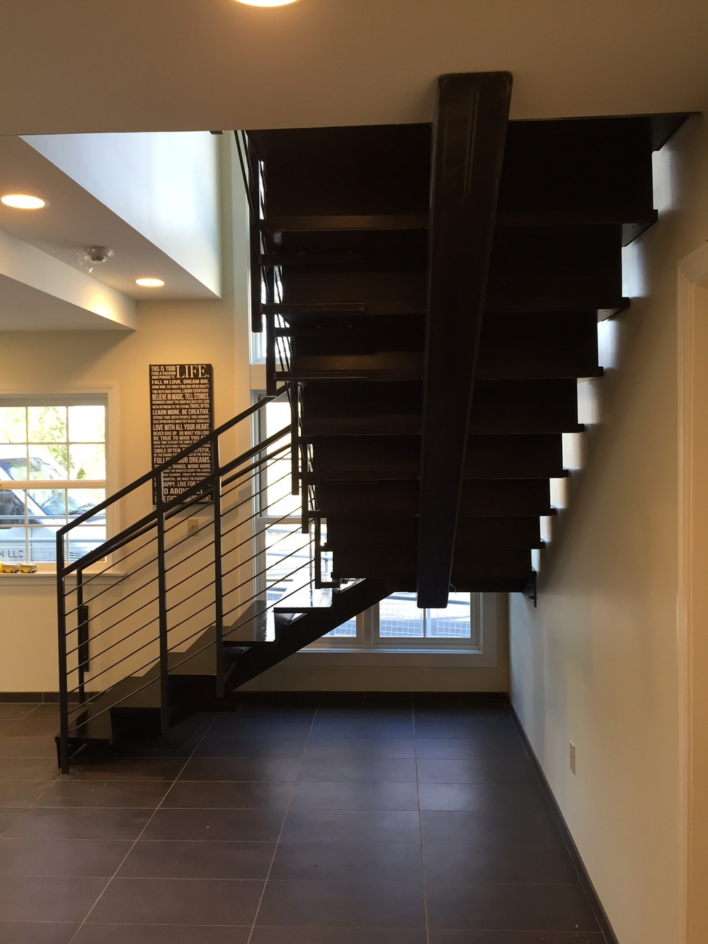 Blackend steel stair and railing