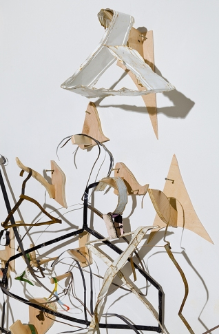 Bridget Mullen Archive Metal, tar paper, wood, acrylic paint, folder paper, nails, ink, brown paper bags