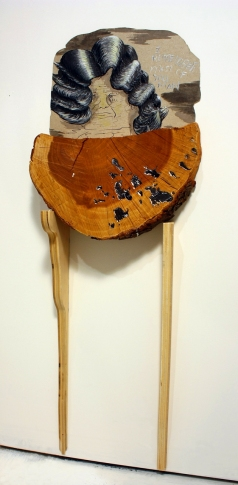 Bridget Mullen Archive Paperboard, wood, tree trunk chunk, acrylic paint, ink