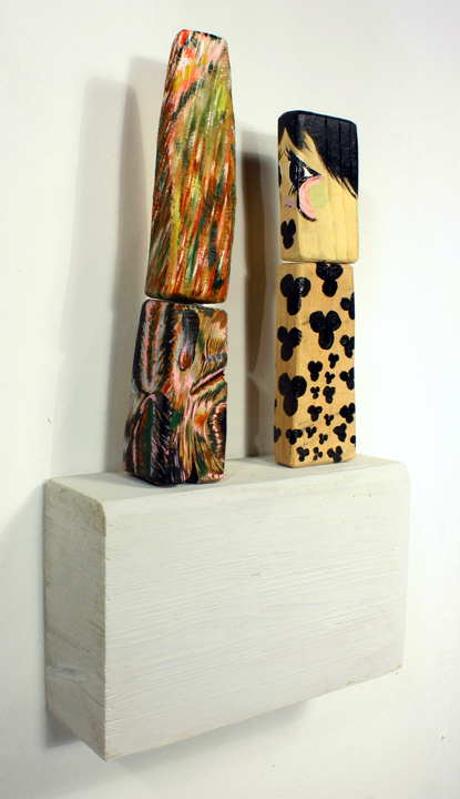FOUR THREE DIMENSIONAL PAINTINGS ASSEMBLED AS TWO TOTEMS