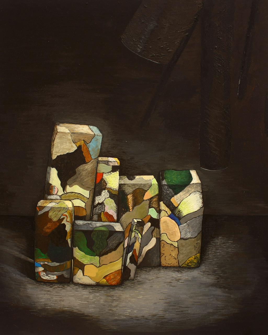 SEVEN THREE DIMENSIONAL PAINTINGS ASSEMBLED FOR A STILL LIFE