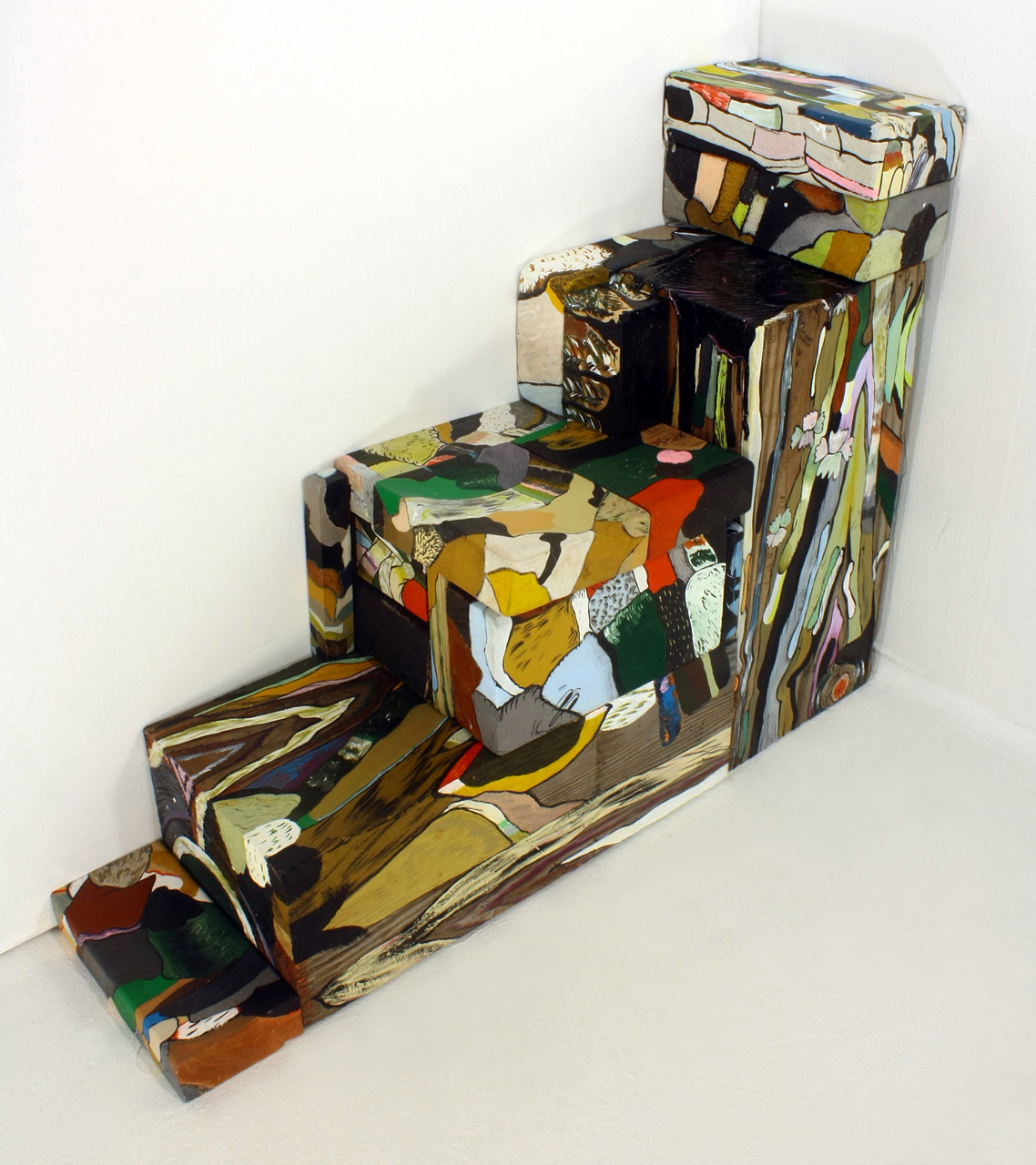 FOURTEEN THREE DIMENSIONAL PAINTINGS ASSEMBLED AS STAIRS