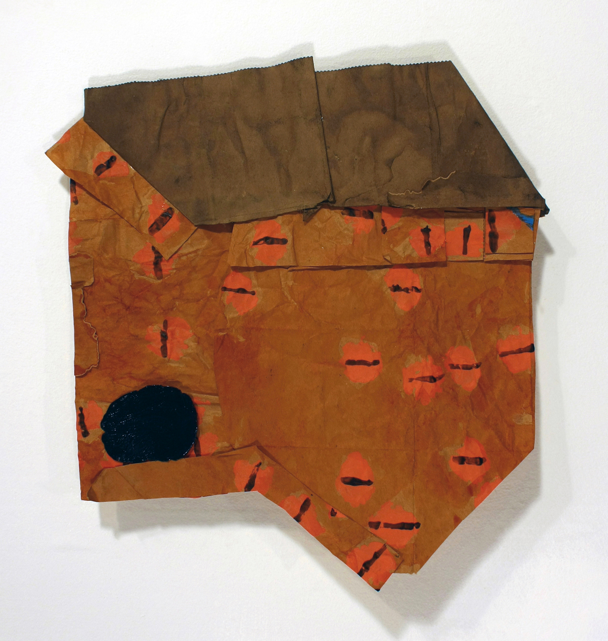 Bridget Mullen Archive Brown paper bag, folder paper, ink, acrylic paint