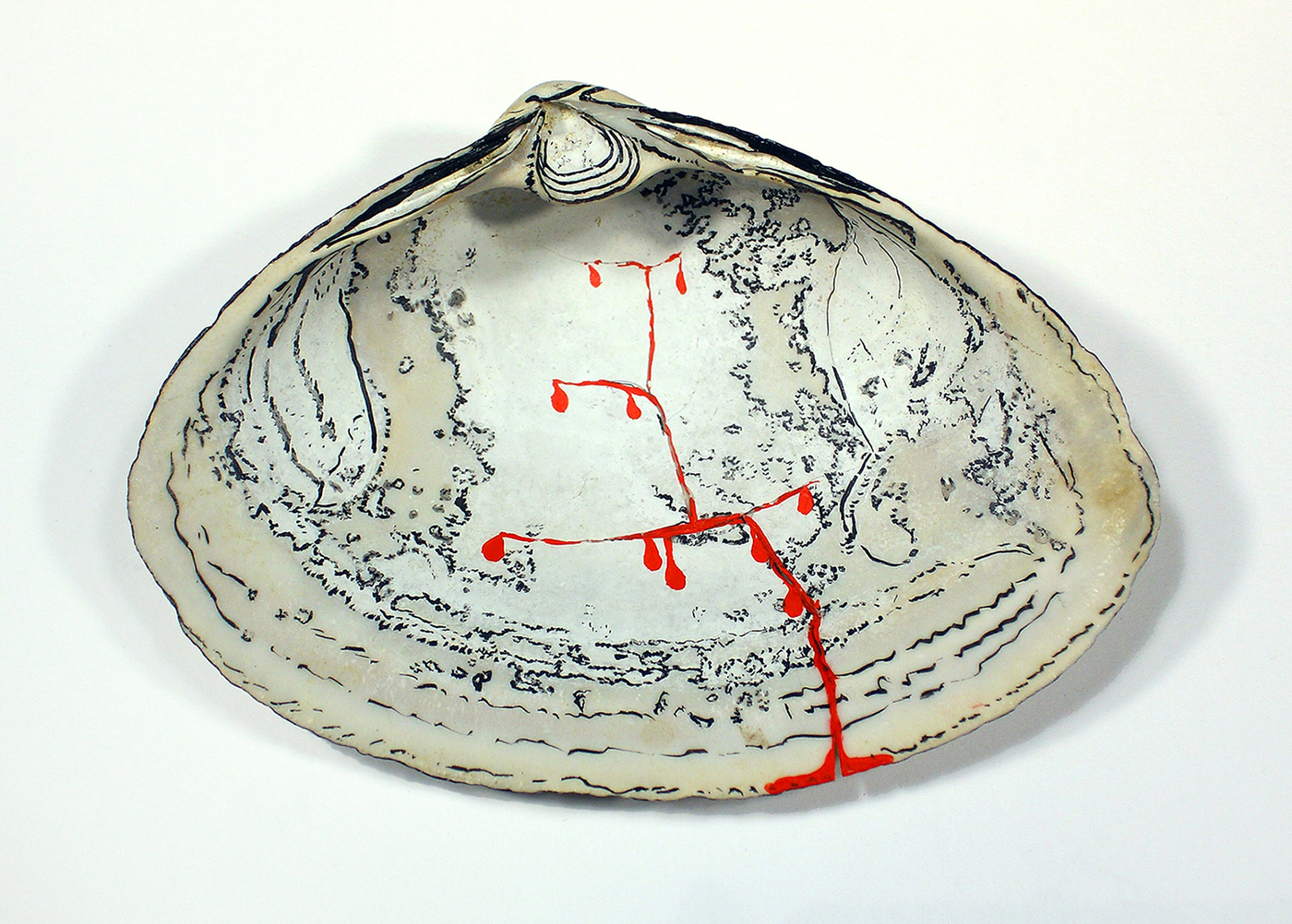 Bridget Mullen Archive Acrylic paint and ink on cracked shell