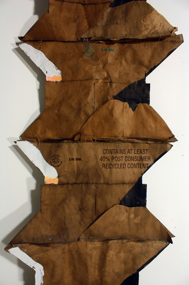 Bridget Mullen Archive Brown paper bag bottoms, acrylic paint, ink, thread