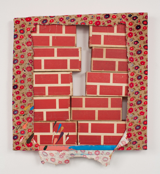 Bridget Mullen New Work Fabric, acrylic paint, wood, cardboard blocks