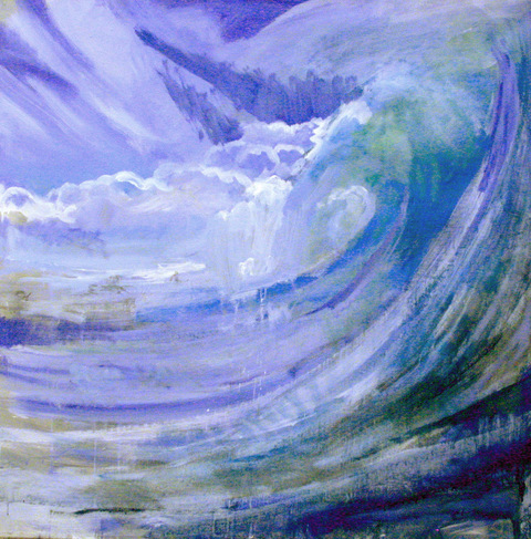 WAVES oil charcoal on canvas