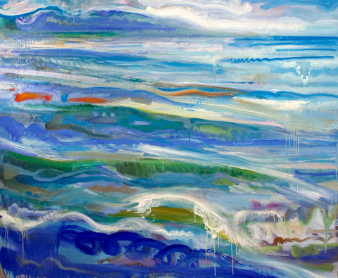 WAVES  acrylic, oil, on linen