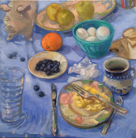 BRUCE LIEBERMAN NATURE MORTE and not so morte oil on canvas
