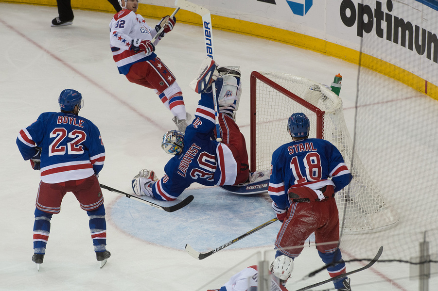 Sports Rangers goalie Henrik Lundqvist makes a save