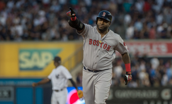 Boston Red Sox David Ortiz celebrates a home run