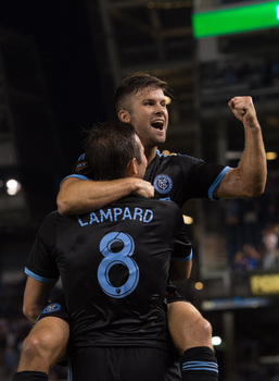 NYCFCs' Frank Lampard and Chris Wingert celebrate