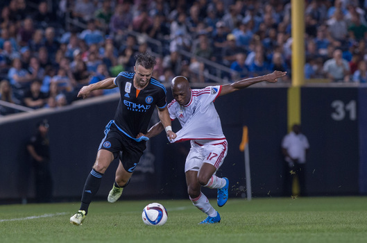 NYCFCs' R.J. Allen and Earthquakes' Sanna Nyassi