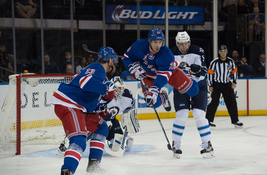 NY Rangers' Chris Kreider goes airborne