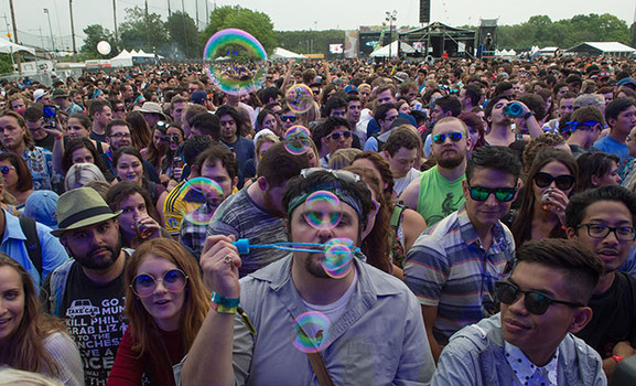 Fans wait for Matt and Kim at the Governors Ball Music Festival