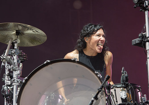 Kim of Matt and Kim performs at the Governors Ball Music Festival