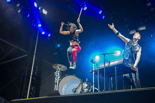Matt and Kim perform at the Governors Ball Music Festival