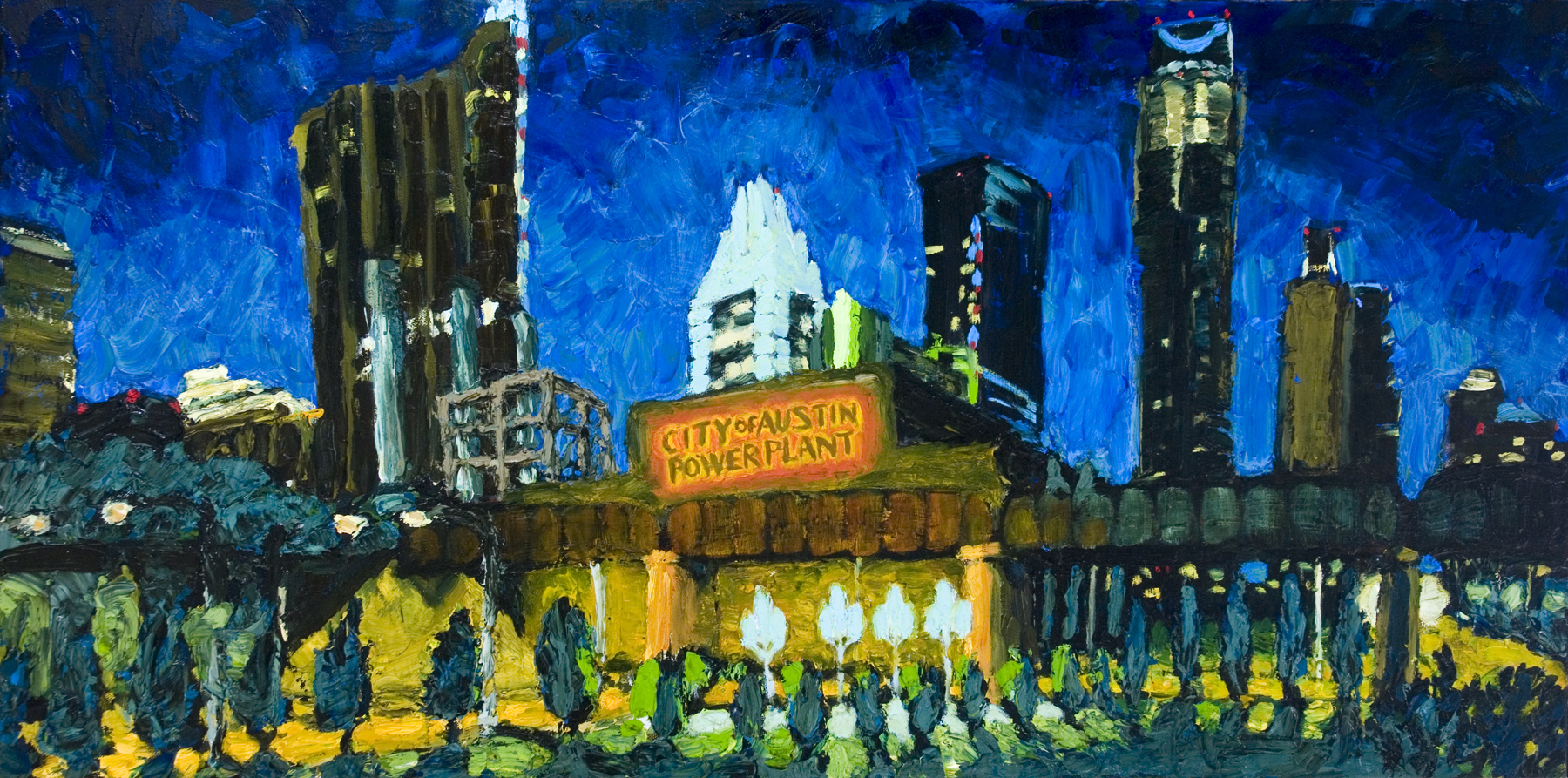 Austin Paintings Seaholm Skyline at Night