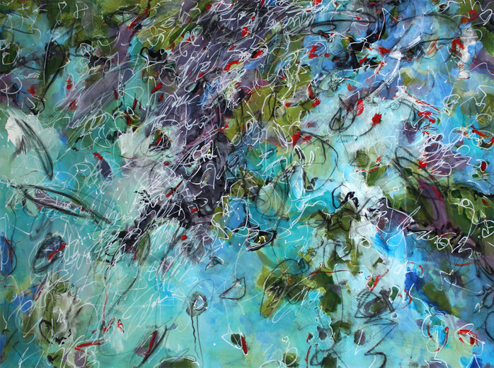 Jane Burton Contemporary Art Color in Motion Series Mixed Media