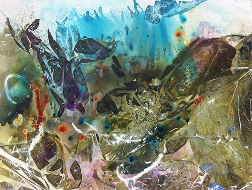 Entangled Particles Acrylic and Inks on Canvas