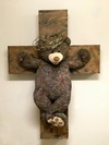 Religious Works 2014-2017 Plush Toy, Metal on Plywood