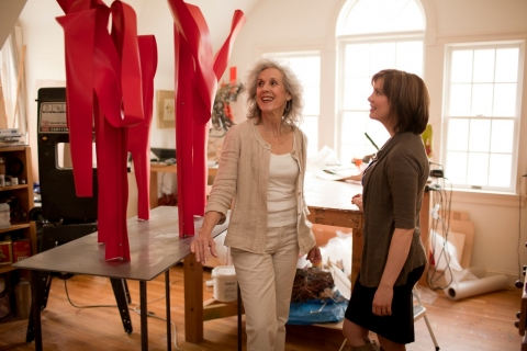"""the art of inspiration"" Camilla and Susan Manspeizer in her studio during the creation of her sculpture for ""The Art of Inspiration"""