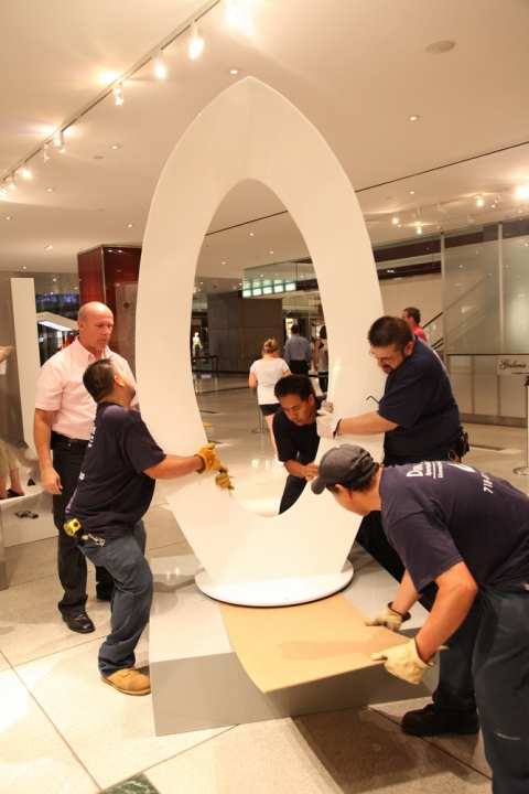 """the art of inspiration"" Jim Felice's sculpture is placed."