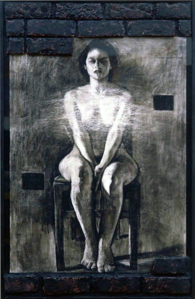 camille eskell Icons of the Self series Black Oil Pastel, bricks