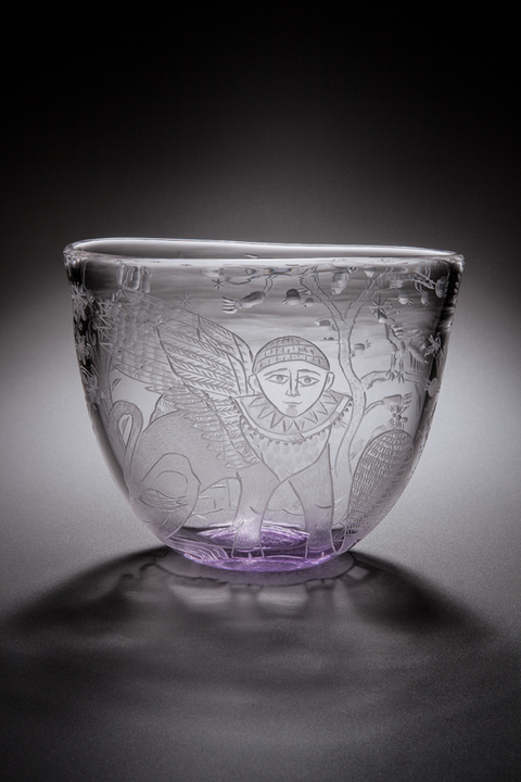 Cappy Thompson Vessels: Engraved Wheel engraved glass