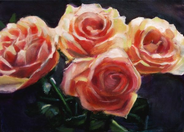 CARMELA KOLMAN ROSES 2015 - 2016 oil on canvas
