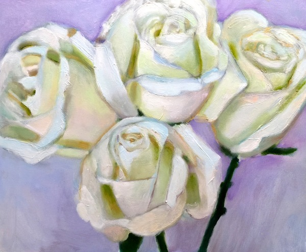 White Roses with Purple Background