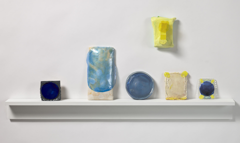 Carol McMahon Current Work wood, acrylic, fabric, plastic container