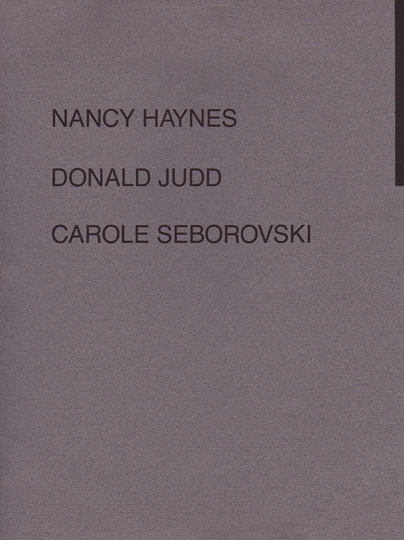 "Catalogues / Publications Westfall, Stephen. ""Nancy Haynes, Donald Judd, Carole Seborovski."""