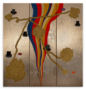 Carole Seborovski Mixed Media Paintings Gold, silver and aluminum leaf, acrylic, yarn, flashe vinyl paint, epoxy putty, mirrors, glass powder, plastic beads, canvas.