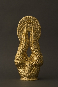 Carole Seborovski Sculpture Gold leaf over fired clay.