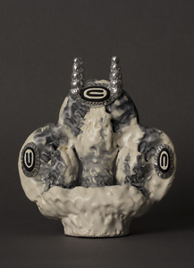 Carole Seborovski Sculpture Aluminum leaf, epoxy putty, fired clay, low-fire glaze, glass powder, flashe'.