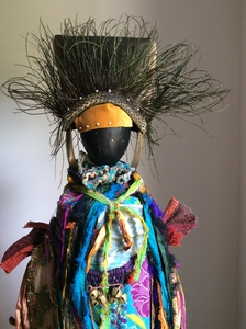 Carol Anna Meese Totems silk, bells, peacock feathers, velvet, Indian birds