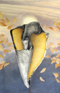 CAROLYN SWIFT Midlife mixed media collage: etching, acrylic paint, colored pencil, graphite pencil, chalk pastel