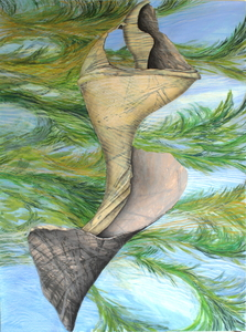 CAROLYN SWIFT Midlife mixed media collage: woodcut, relief, acrylic paint and ink, colored pencil, graphite pencil