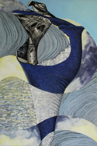 CAROLYN SWIFT Midlife mixed media collage: woodcut, etching, acrylic paint and ink, colored pencil, graphite pencil