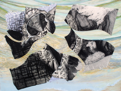 CAROLYN SWIFT Midlife mixed media collage: woodcut, etching, stamping, shredded documents, acrylic paint and ink, colored pencil