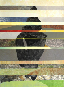 CAROLYN SWIFT Midlife mixed media collage: woodcut, relief, etching, collagraph, acrylic paint and ink, colored pencil