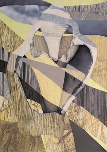 CAROLYN SWIFT Midlife mixed media collage: woodcut, relief, etching, acrylic paint and ink, colored pencil, graphite pencil