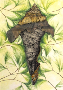 CAROLYN SWIFT Midlife mixed media collage: woodcut, relief, collagraph, etching, acrylic paint and ink, colored pencil, graphite pencil