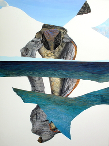 CAROLYN SWIFT Midlife mixed media collage: woodcut, collagraph, etching, acrylic paint and ink, colored pencil, graphite pencil